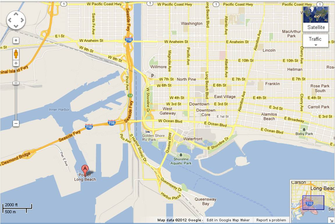 Click To View Live Traffic Map Of Port Long Beach Area